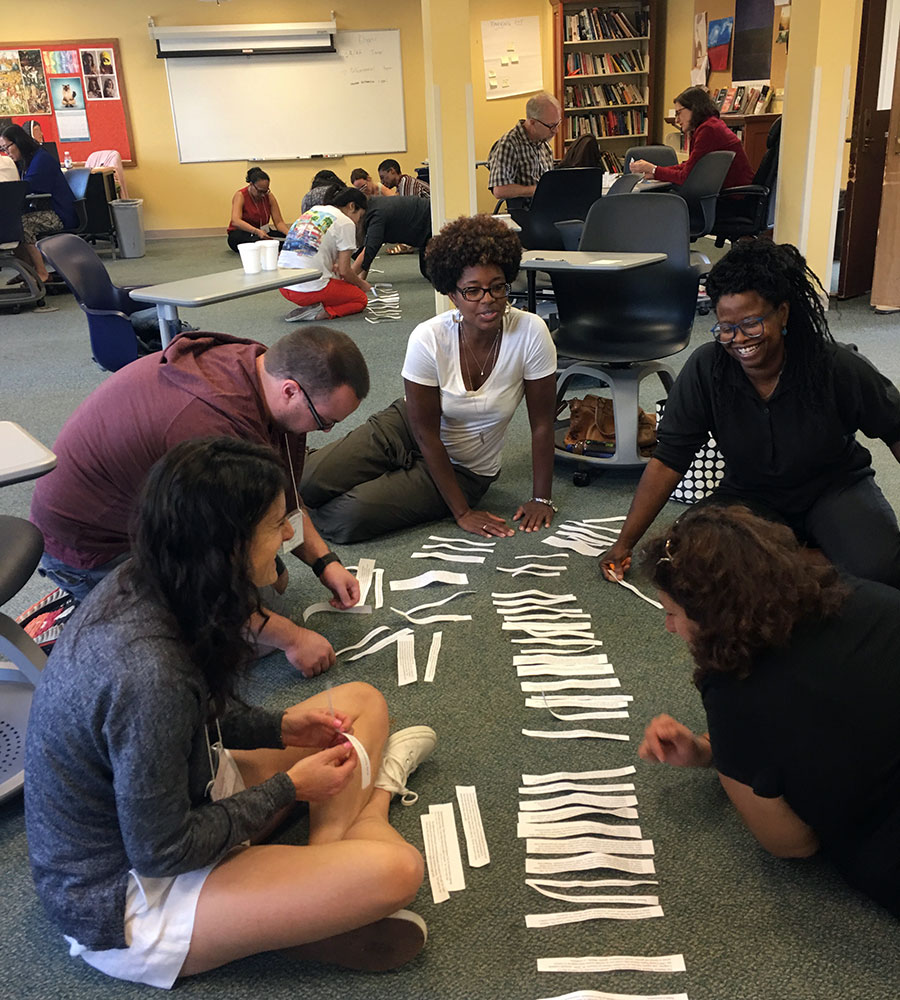 Participants working on an activity during the Institute for Teaching Diversity and Social Justice
