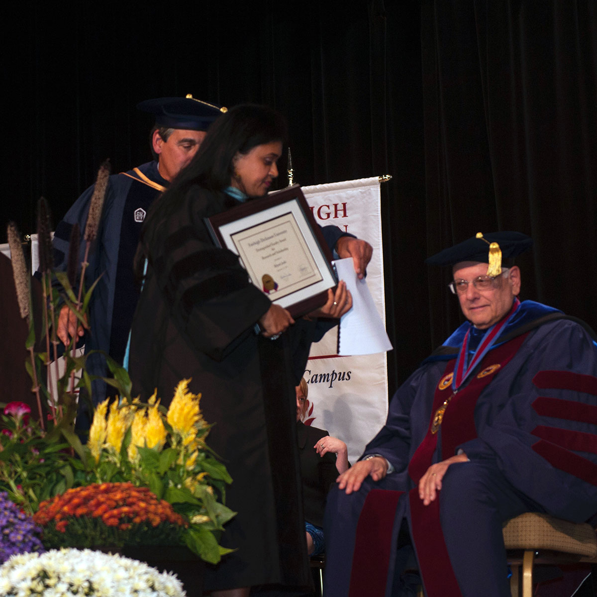 Dr. Joshi after accepting an award at Fairleigh Dickinson University's convocation